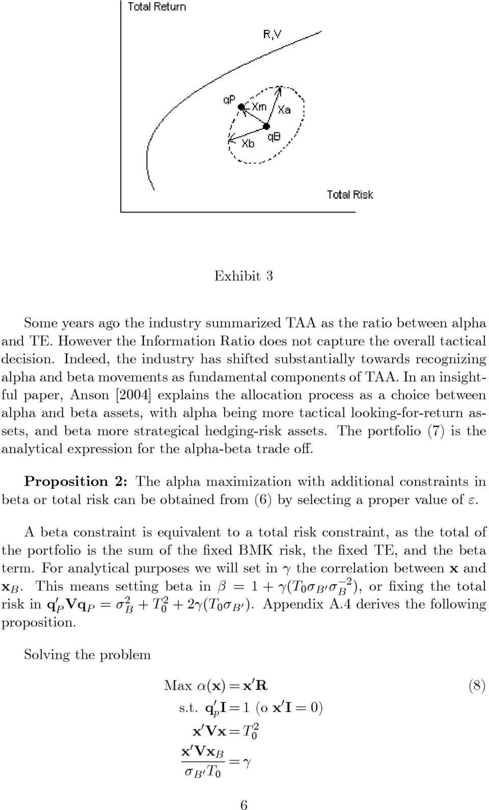In an insightful paper, Anson [2004] explains the allocation process as a choice between alpha and beta assets, with alpha being more tactical looking-for-return assets, and beta more strategical