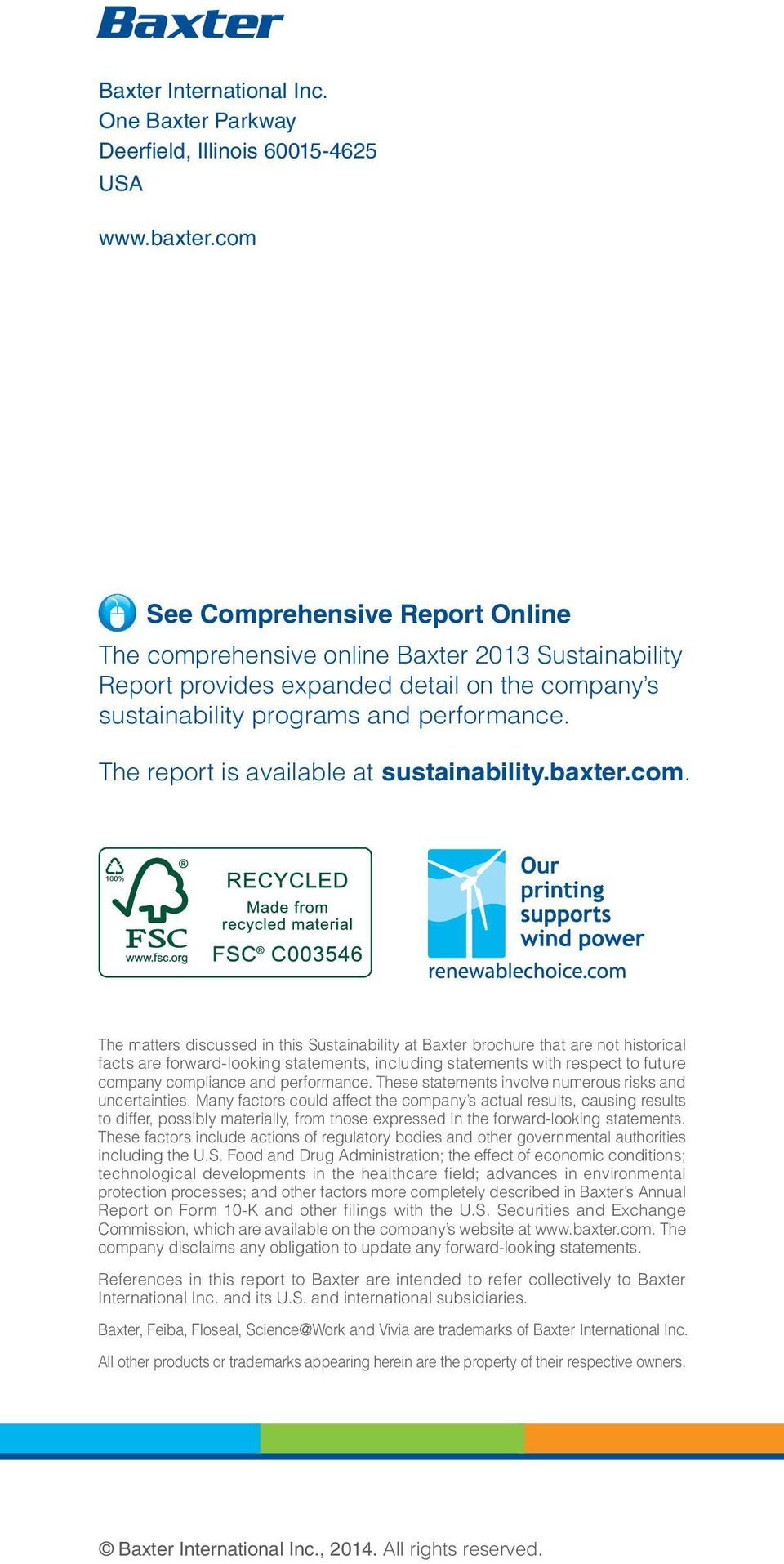 The report is available at sustainability.baxter.com.