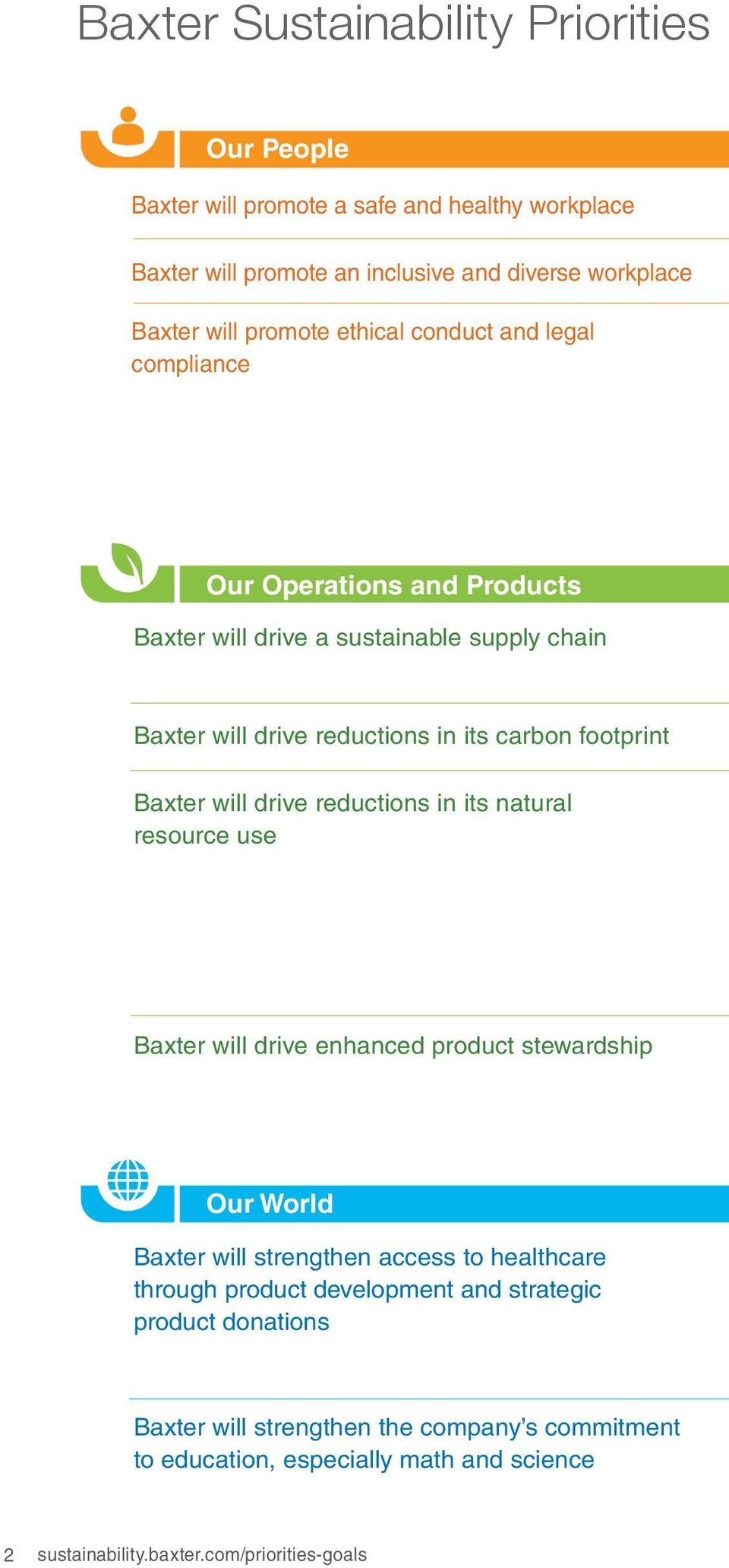 will drive reductions in its natural resource use Baxter will drive enhanced product stewardship Our World Baxter will strengthen access to healthcare through product