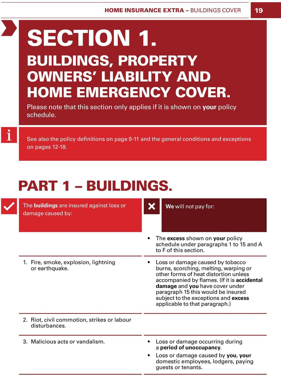 The buildings are insured against loss or damage caused by: We will not pay for: The excess shown on your policy schedule under paragraphs 1 to 15 and A to F of this section. 1. Fire, smoke, explosion, lightning or earthquake.