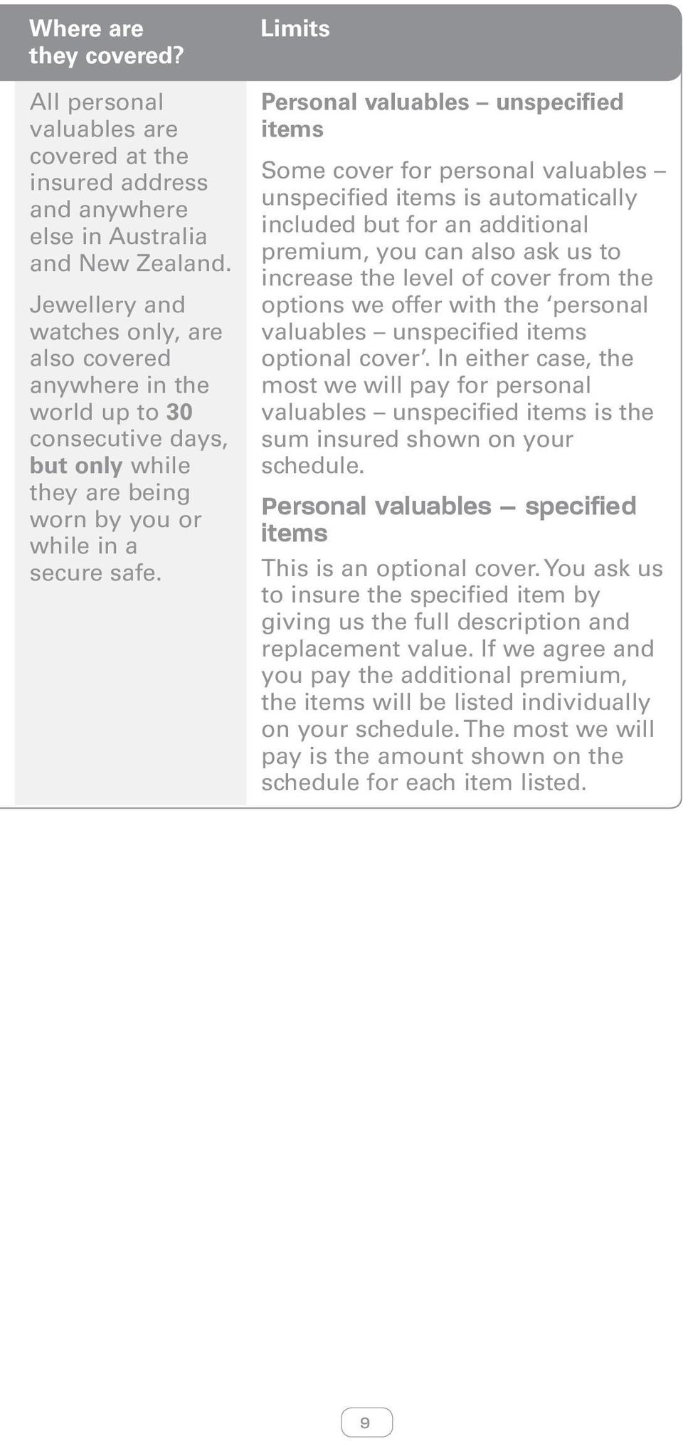 Limits Personal valuables unspecified items Some cover for personal valuables unspecified items is automatically included but for an additional premium, you can also ask us to increase the level of