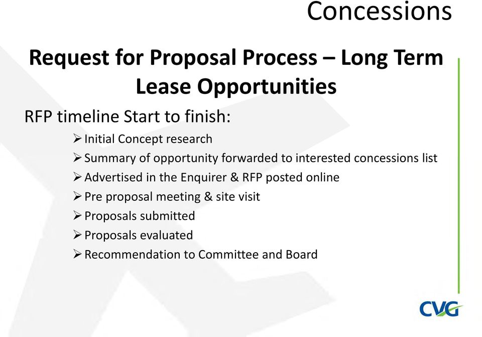 interested concessions list Advertised in the Enquirer & RFP posted online Pre