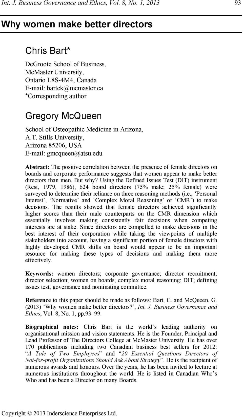 ca *Corresponding author Gregory McQueen School of Osteopathic Medicine in Arizona, A.T. Stills University, Arizona 85206, USA E-mail: gmcqueen@atsu.