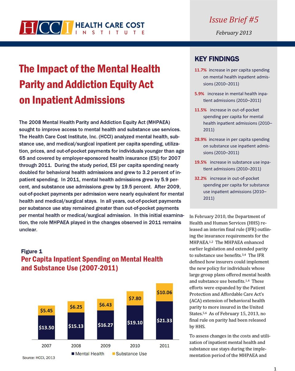 (HCCI) analyzed mental health, substance use, and medical/surgical inpatient per capita spending, utilization, prices, and out-of-pocket payments for individuals younger than age 65 and covered by