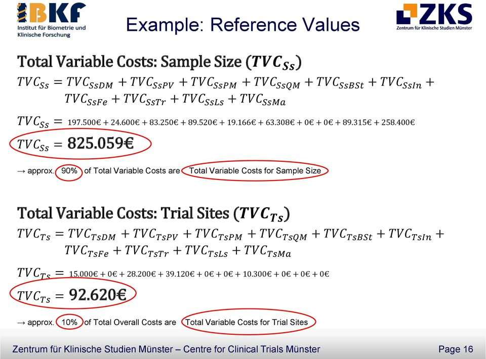 90% of Total Variable Costs are Total Variable Costs for Sample Size Total Variable Costs: Trial Sites (TVC Ts ) TVC Ts = TVC TsDM + TVC TsPV + TVC TsPM + TVC TsQM + TVC TsBSt + TVC TsIn + TVC