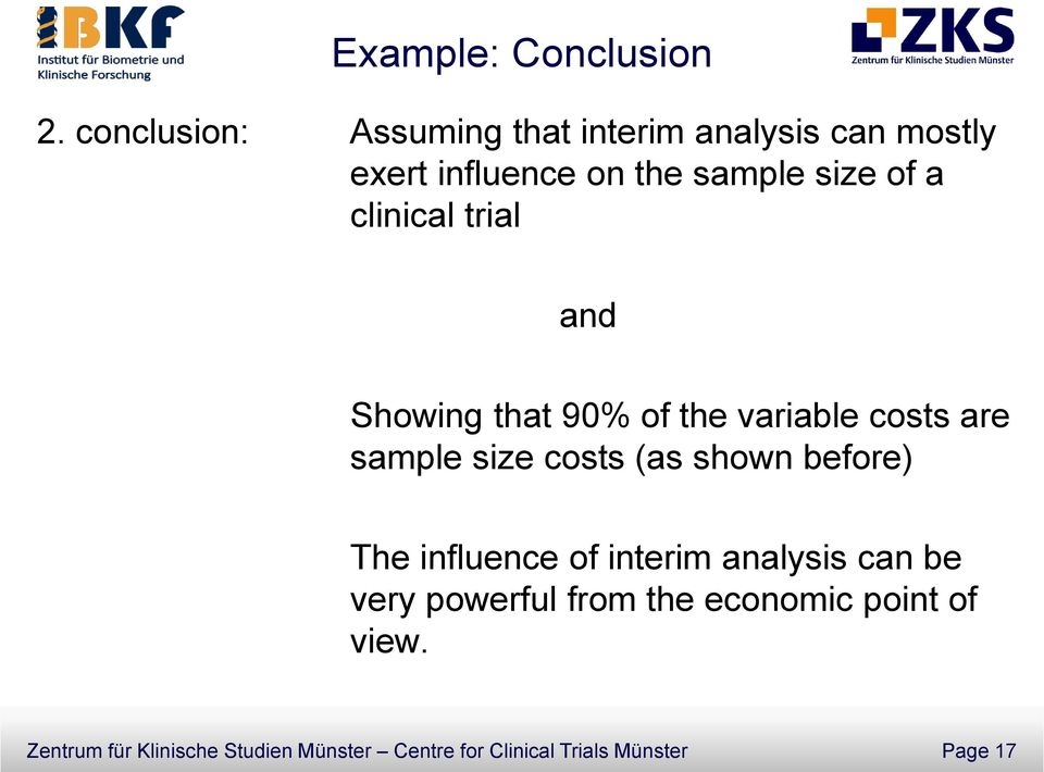 clinical trial and Showing that 90% of the variable costs are sample size costs (as shown
