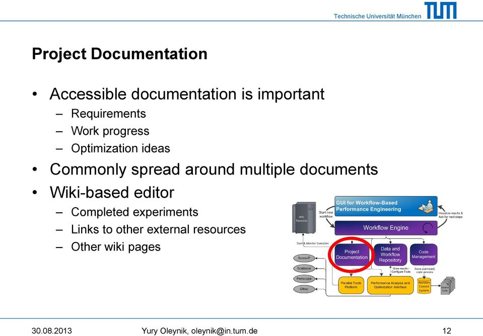 multiple documents Wiki-based editor Completed experiments Links to
