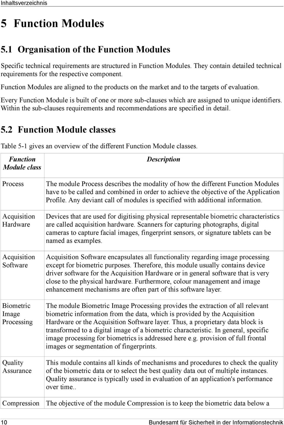 Every Function Module is built of one or more sub-clauses which are assigned to unique identifiers. Within the sub-clauses requirements and recommendations are specified in detail. 5.