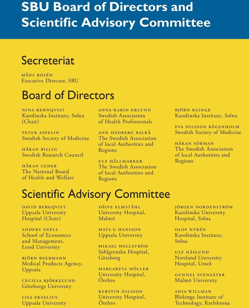 Secreteriat Board of Directors 2 SBU