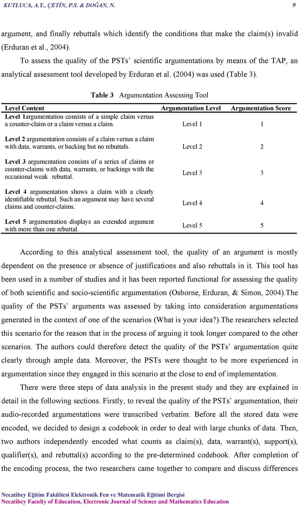 Table 3 Argumentation Assessing Tool Level Content Argumentation Level Argumentation Score Level 1argumentation consists of a simple claim versus a counter-claim or a claim versus a claim.