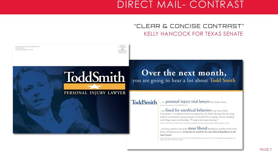 Texas. (Source: www.texasbar.com, www.toddsmithlaw.com) was fined for unethical behavior by the Texas Ethics Commission.