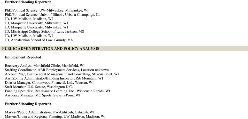 UW-Madison, Madison, WI JD, Appalachian School of Law, Grundy, VA Recovery Analyst, Marshfield Clinic, Marshfield, WI Staffing Coordinator, ABR Employment Services, Location unknown Account Mgr,