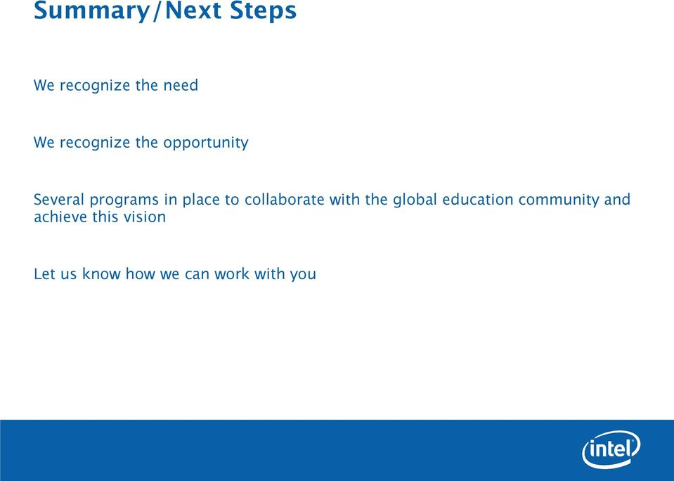 to collaborate with the global education community