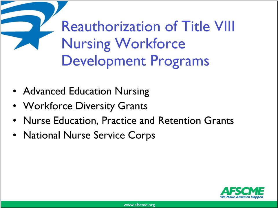 Workforce Diversity Grants Nurse Education,