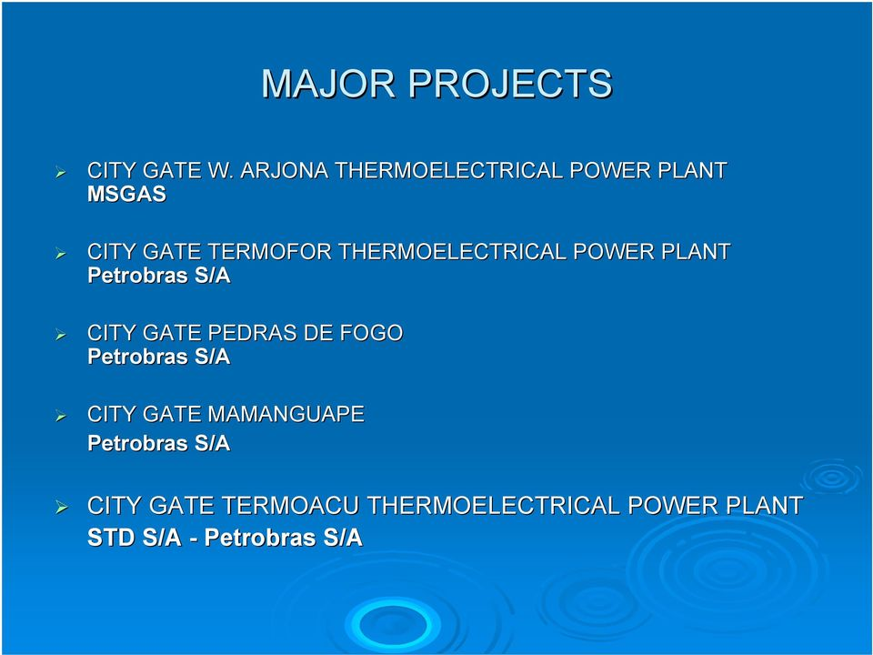 THERMOELECTRICAL POWER PLANT Petrobras S/A CITY GATE PEDRAS DE FOGO