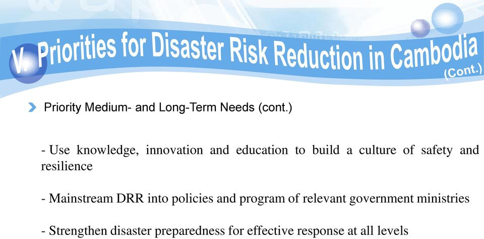 safety and resilience - Mainstream DRR into policies and program of
