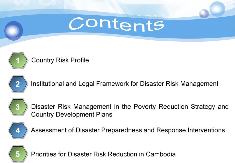 Strategy and Country Development Plans Assessment of Disaster