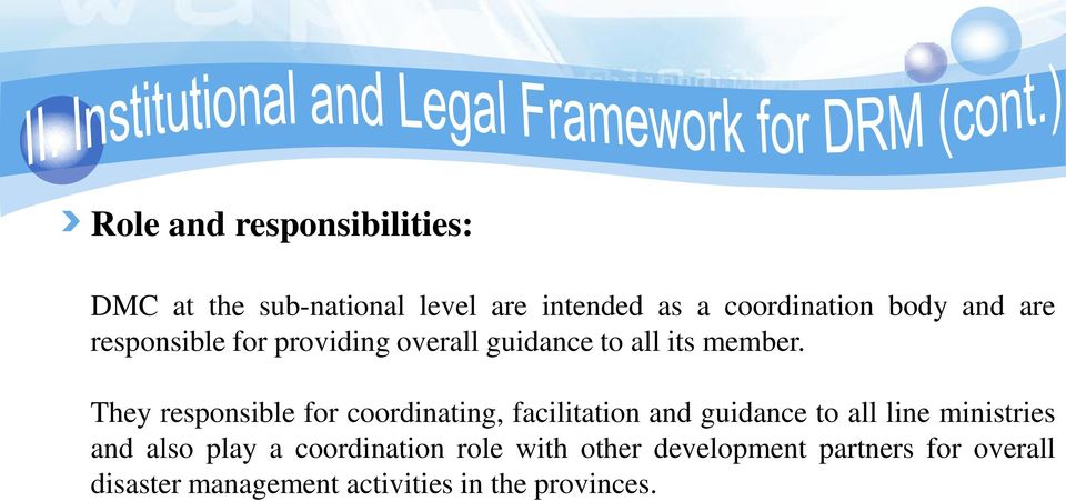 They responsible for coordinating, facilitation and guidance to all line ministries and also
