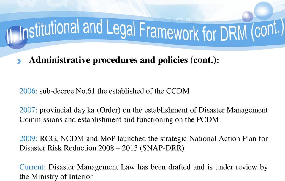 Commissions and establishment and functioning on the PCDM 2009: RCG, NCDM and MoP launched the strategic
