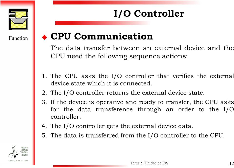 The I/O controller returns the external device state. 3.