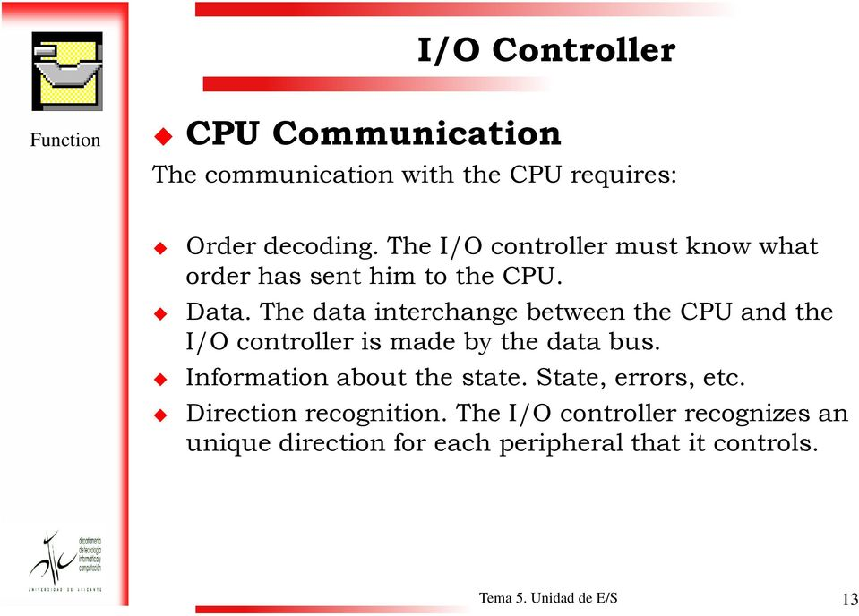 The data interchange between the CPU and the I/O controller is made by the data bus.