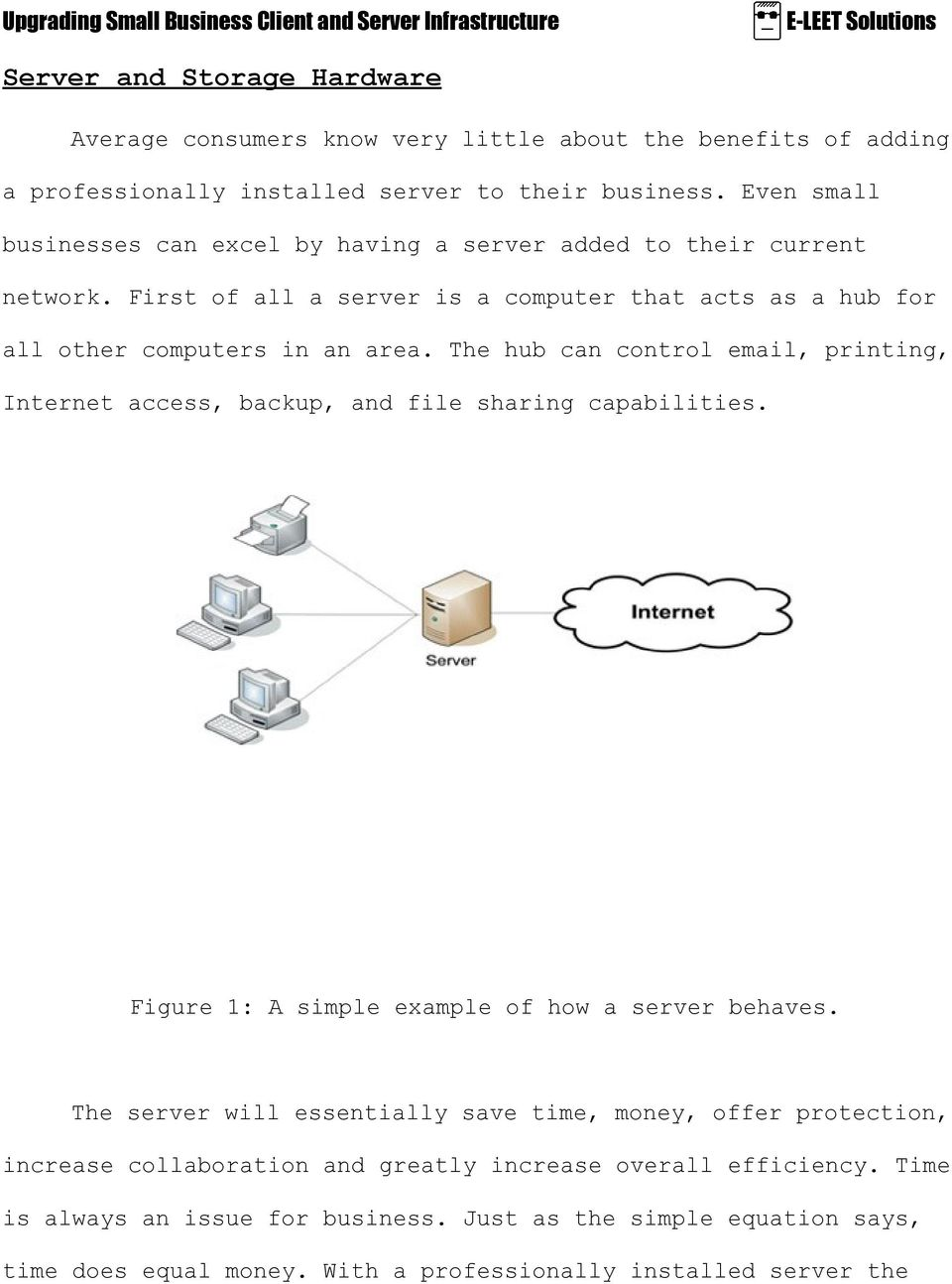 The hub can control email, printing, Internet access, backup, and file sharing capabilities. Figure 1: A simple example of how a server behaves.