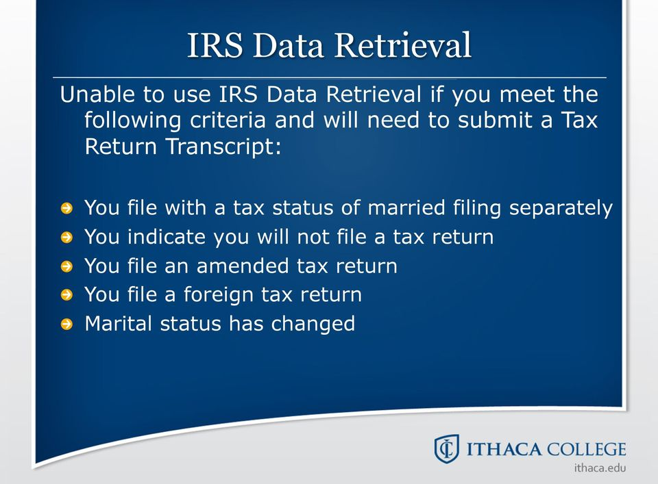 You file with a tax status of married filing separately!