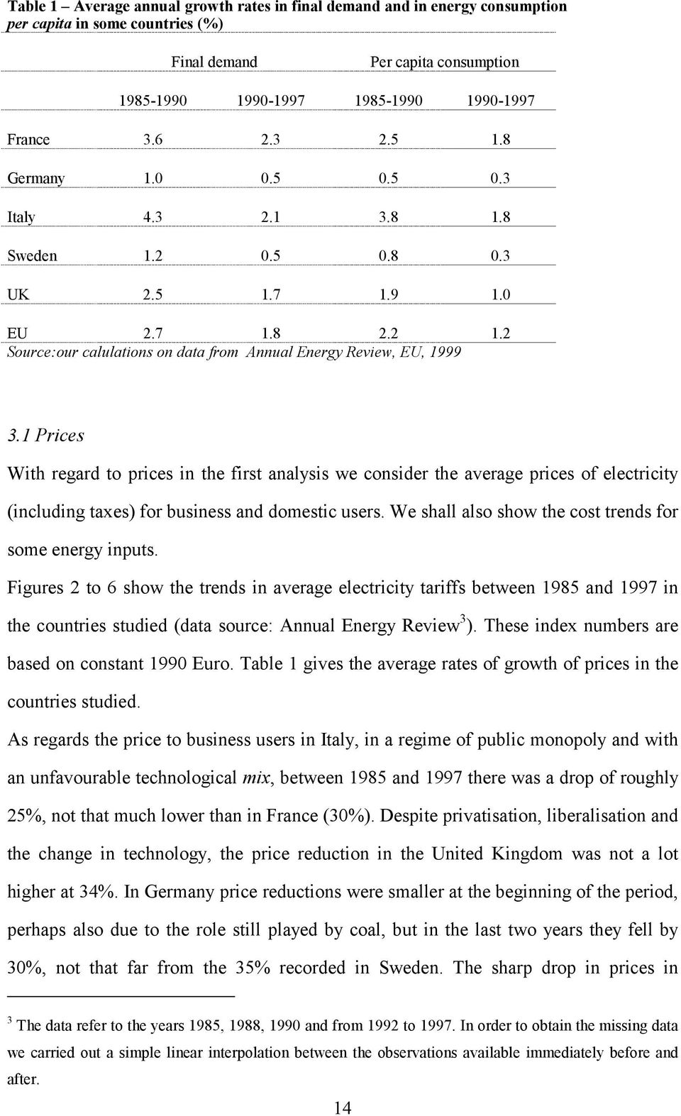 1 Prices With regard to prices in the first analysis we consider the average prices of electricity (including taxes) for business and domestic users.