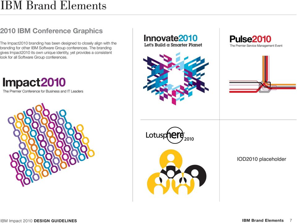 The branding gives Impact2010 its own unique identity, yet provides a consistent look for