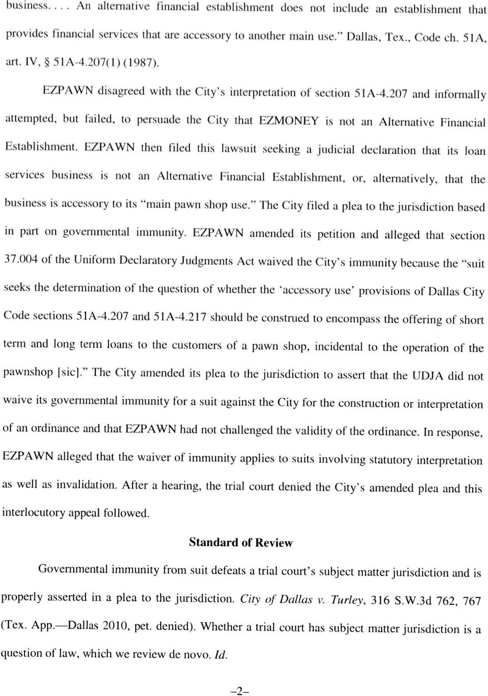 to persuade the City that EZMONEY is not an Alternative Financial Establishment.