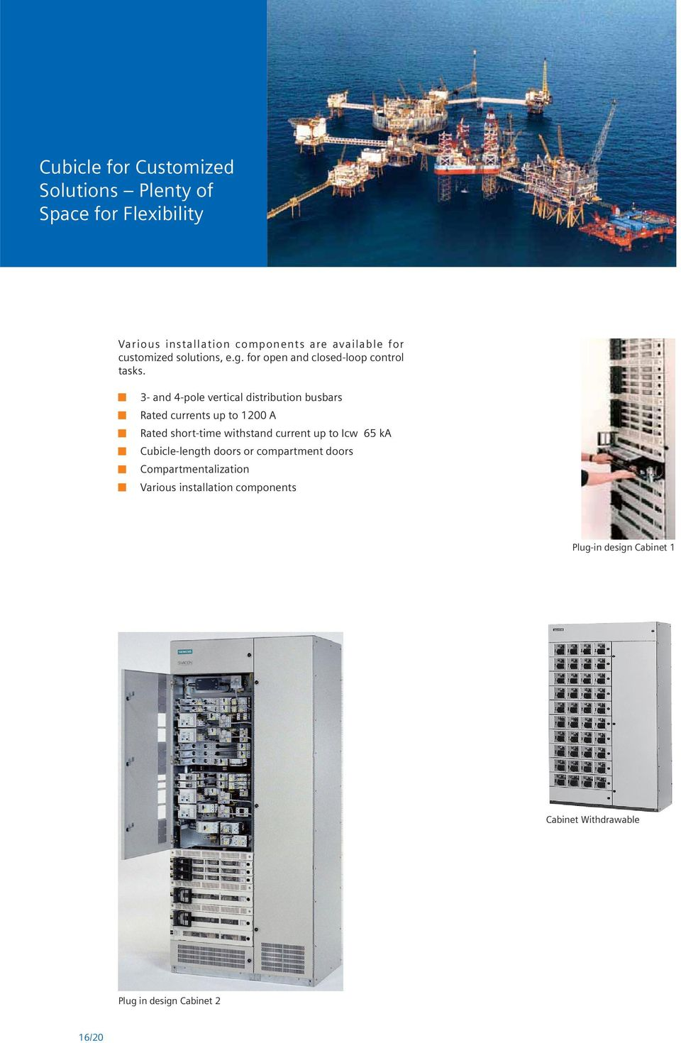 3- and 4-pole vertical distribution busbars Rated currents up to 1200 A Rated short-time withstand current up to Icw
