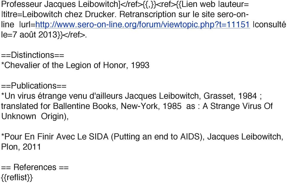 ==Distinctions== *Chevalier of the Legion of Honor, 1993 ==Publications== *Un virus étrange venu d'ailleurs Jacques Leibowitch, Grasset, 1984 ;