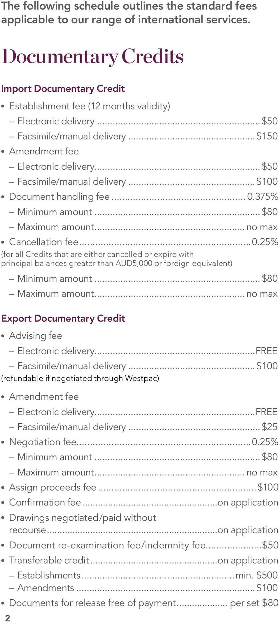 .. $50 Facsimile/manual delivery... $100 Document handling fee... 0.375% Minimum amount... $80 Maximum amount... no max Cancellation fee...0.25% (for all Credits that are either cancelled or expire with principal balances greater than AUD5,000 or foreign equivalent) Minimum amount.