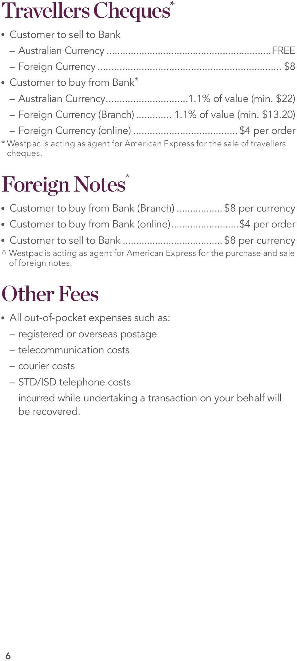 Foreign Notes^ Customer to buy from Bank (Branch)... $8 per currency Customer to buy from Bank (online)...$4 per order Customer to sell to Bank.