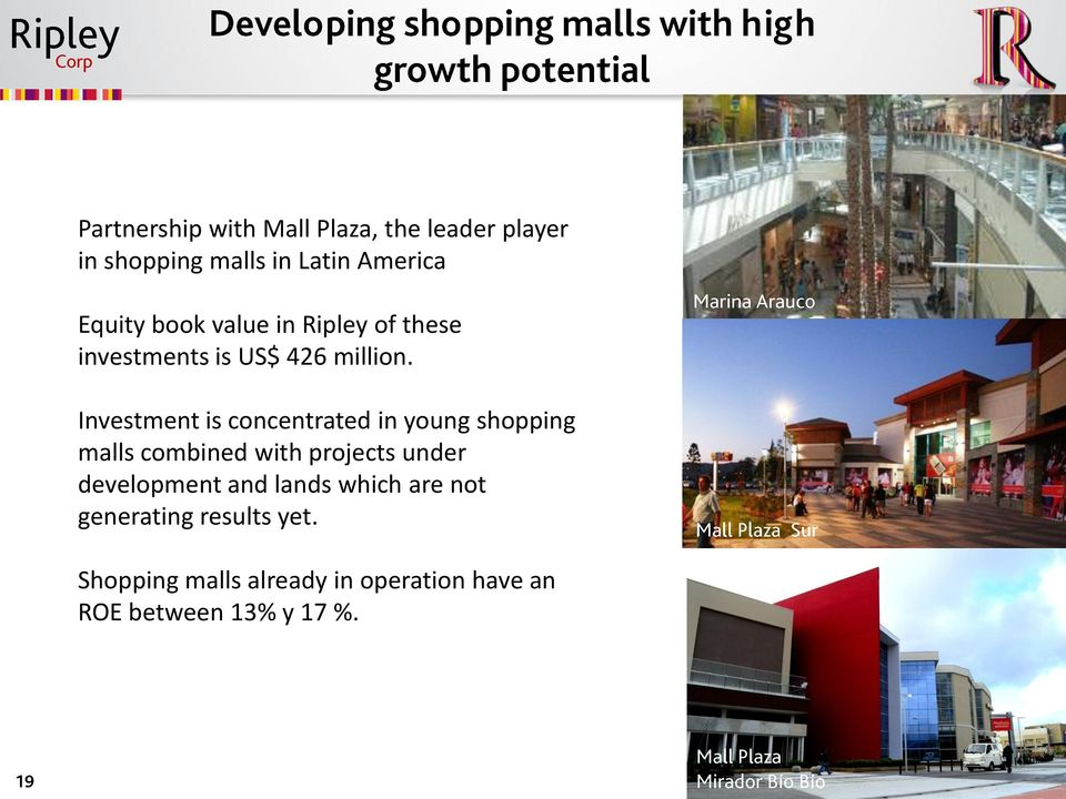 Investment is concentrated in young shopping malls combined with projects under