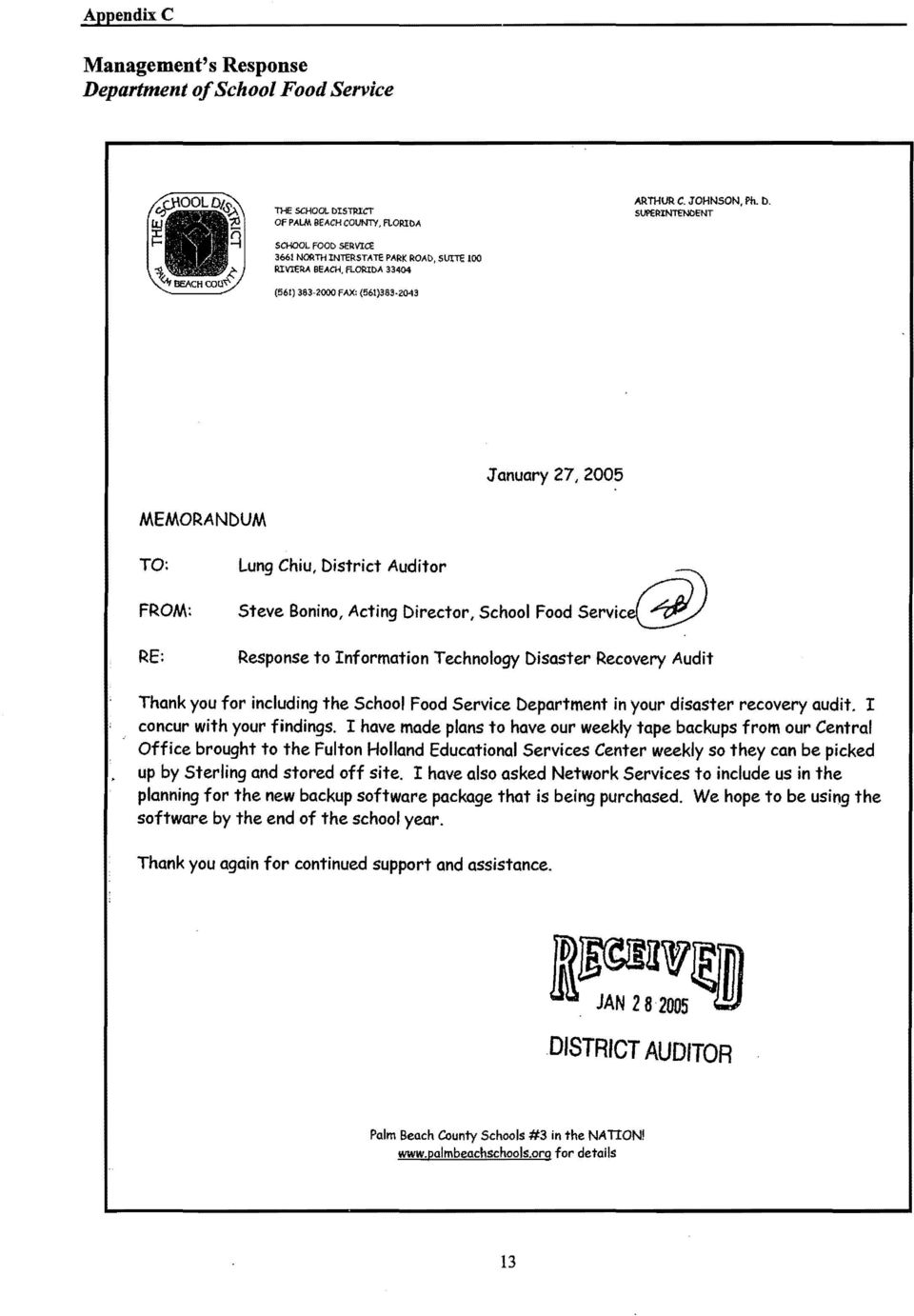 ORlM 33404 (561) 383-200c fax: (561)383,0043 January 27, 2005 MEMORANDUM TO: FROM: RE: Lung Chiu, District Auditor Steve Bonino, Acting Director, School Food servi@ Response to Information Technology