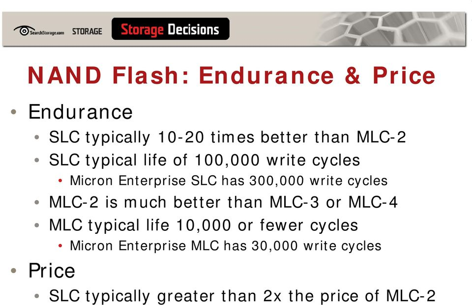 MLC-2 is much better than MLC-3 or MLC-4 MLC typical life 10,000 000 or fewer cycles Price