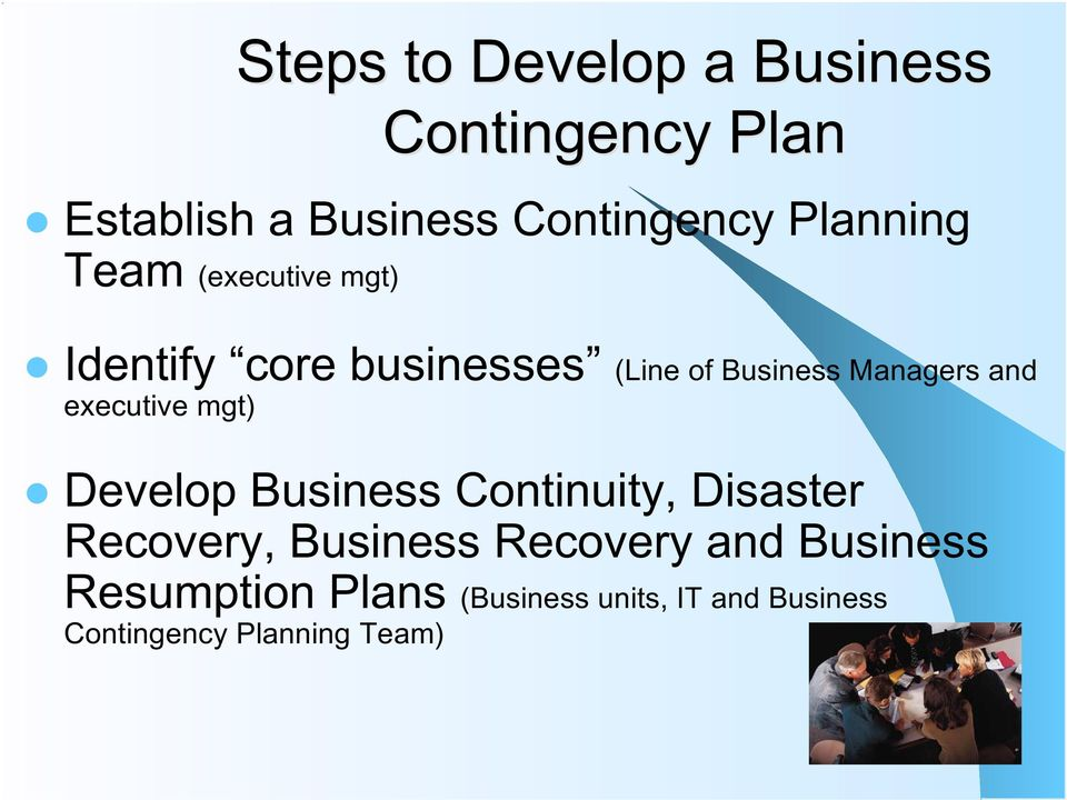 and executive mgt) Develop Business Continuity, Disaster Recovery, Business
