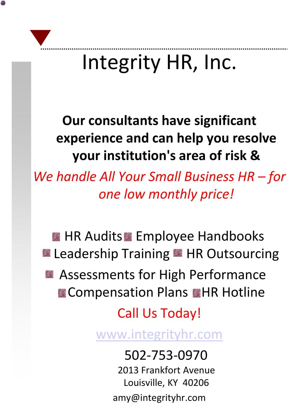 handle All Your Small Business HR for one low monthly price!