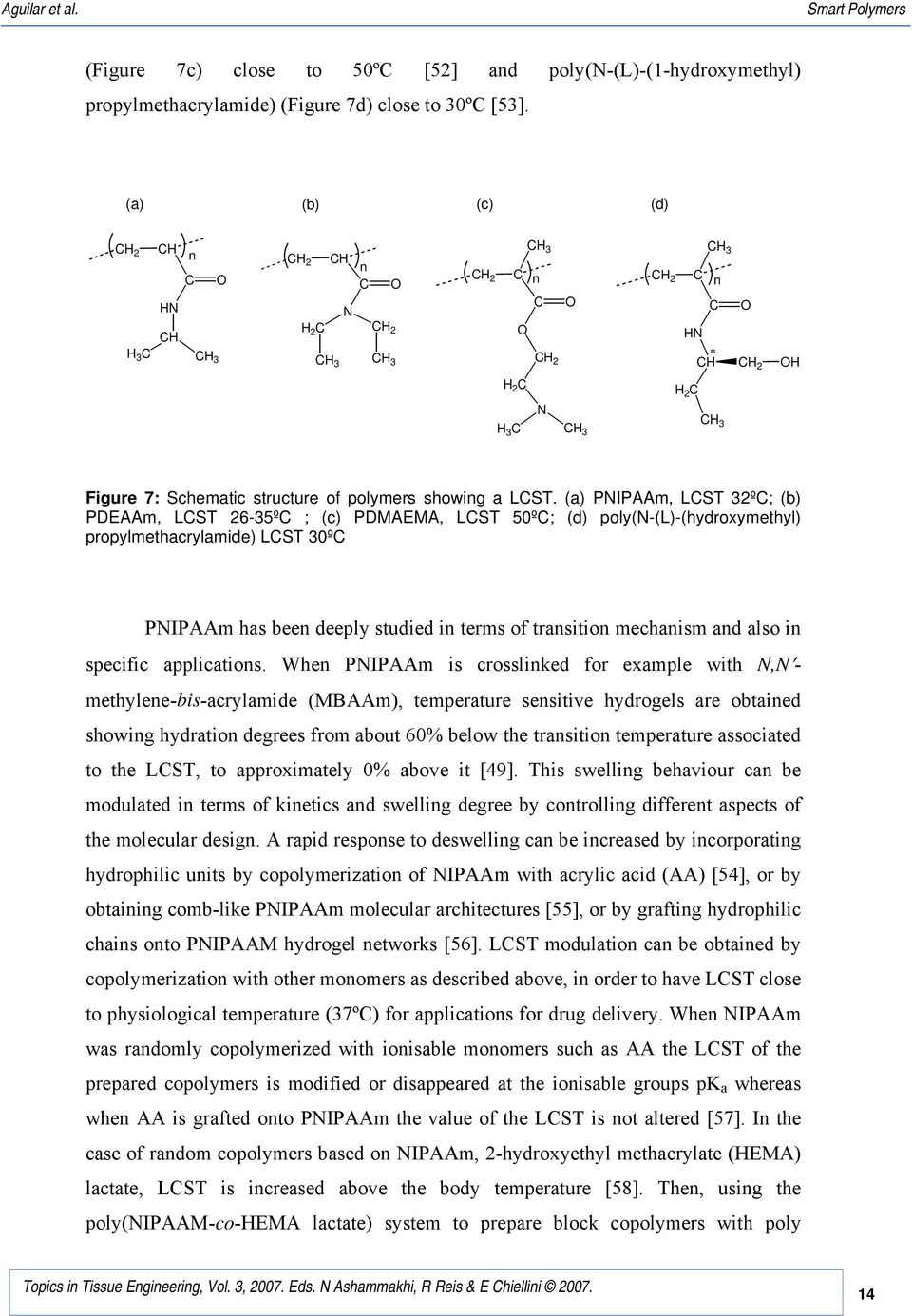 (a) PIPAAm, LST 32º; (b) PDEAAm, LST 26-35º ; (c) PDMAEMA, LST 50º; (d) poly(-(l)-(hydroxymethyl) propylmethacrylamide) LST 30º PIPAAm has been deeply studied in terms of transition mechanism and
