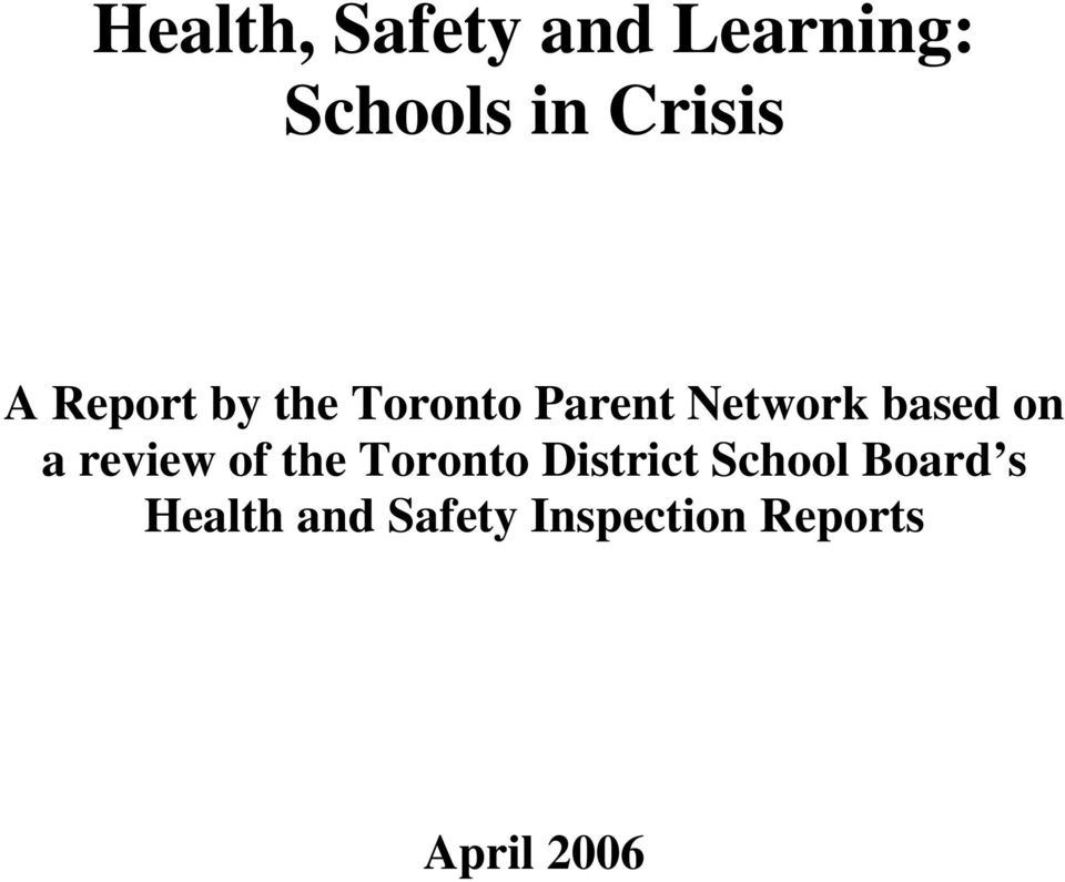 a review of the Toronto District School Board s