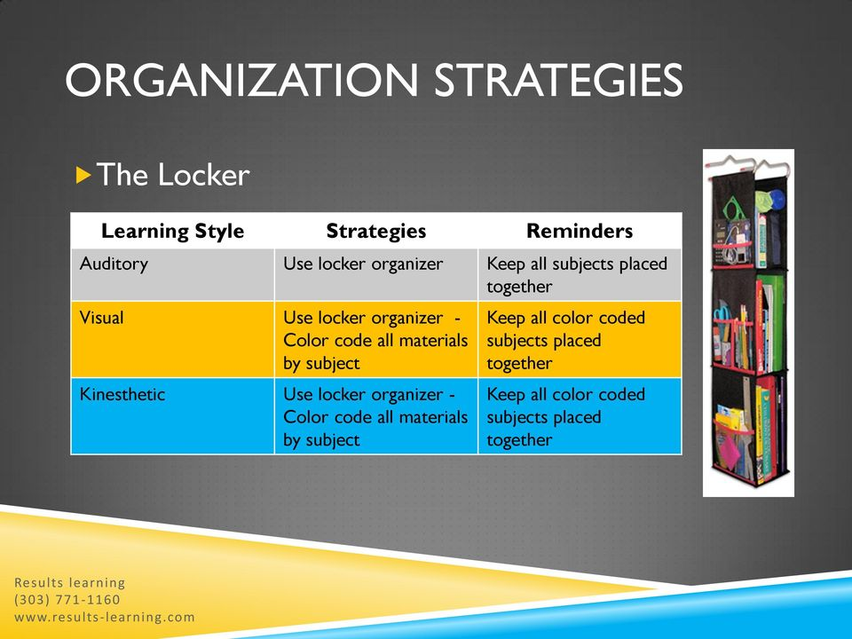 materials by subject Kinesthetic Use locker organizer - Color code all materials by subject