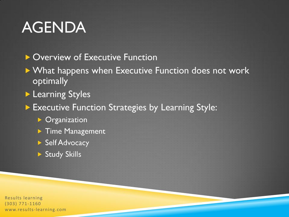 Executive Function Strategies by Learning Style: