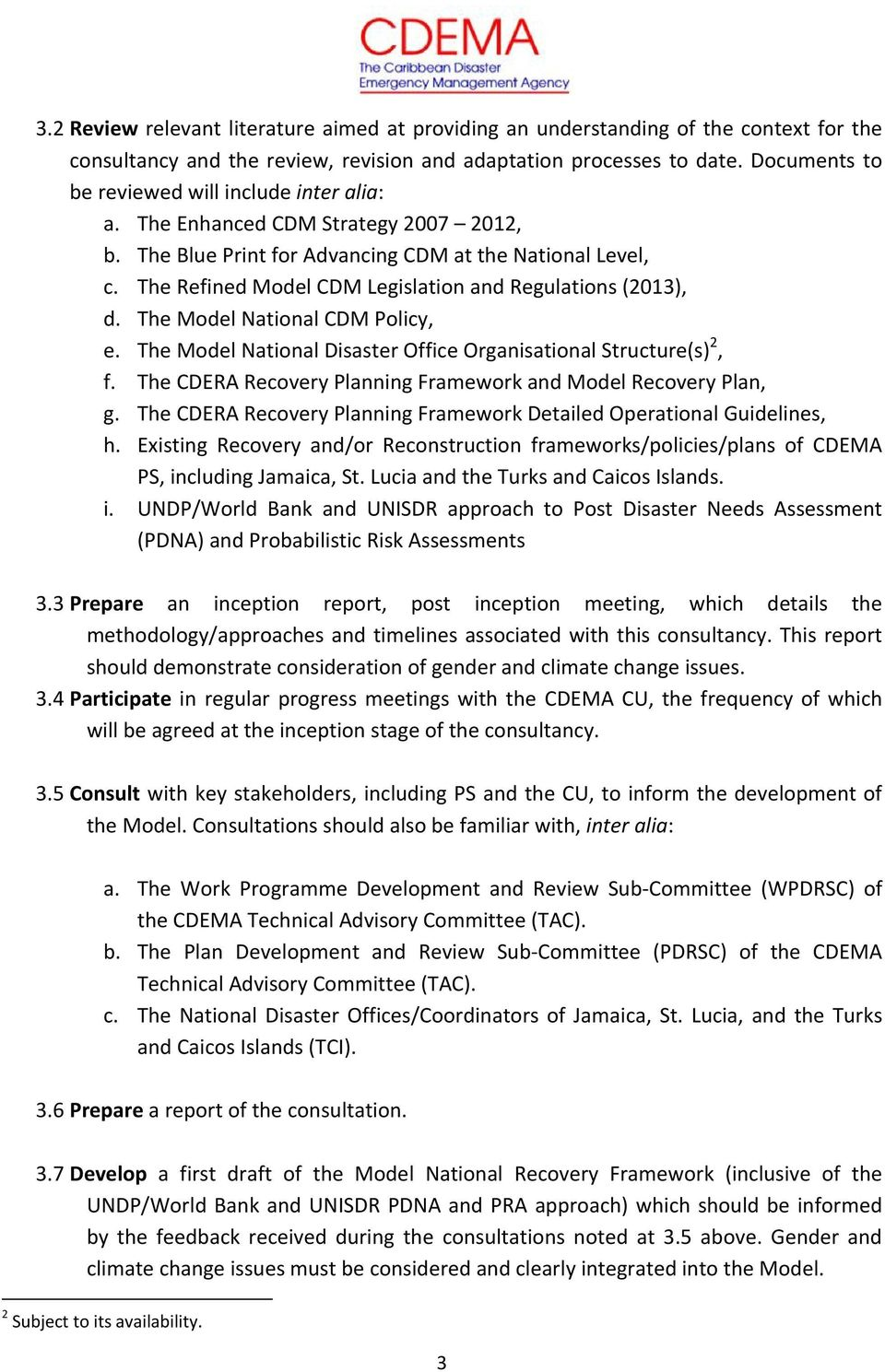 The Refined Model CDM Legislation and Regulations (2013), d. The Model National CDM Policy, e. The Model National Disaster Office Organisational Structure(s) 2, f.