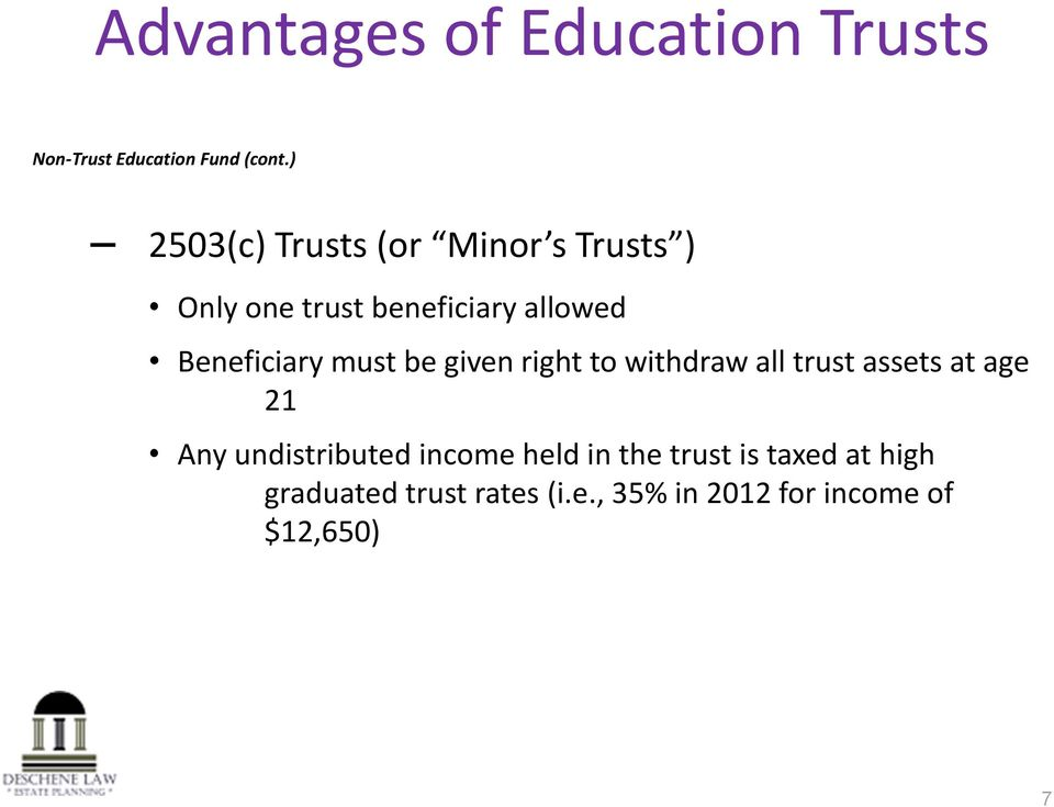 Beneficiary must be given right to withdraw all trust assets at age 21 Any