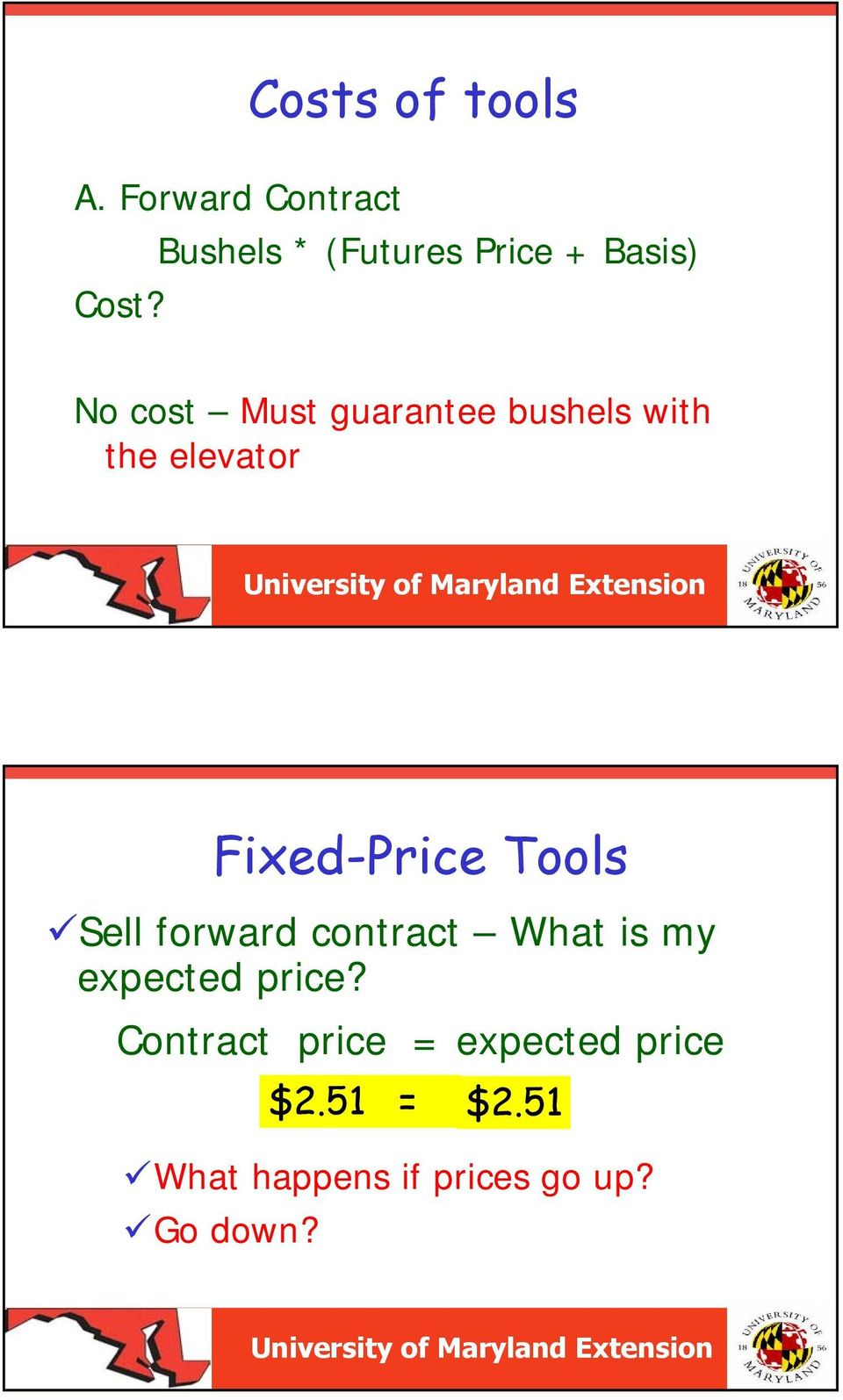 No cost Must guarantee bushels with the elevator Fixed-Price Tools