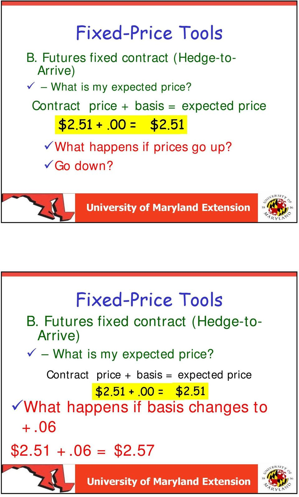 Contract price + basis = expected price $2.51 +.00 = $2.51 What happens if basis changes to +.