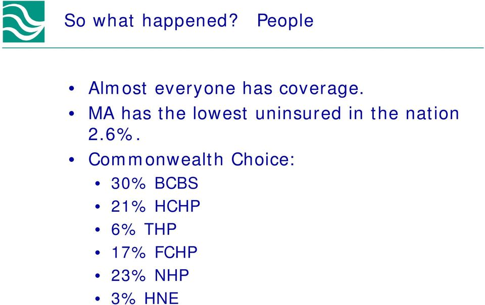 MA has the lowest uninsured in the nation
