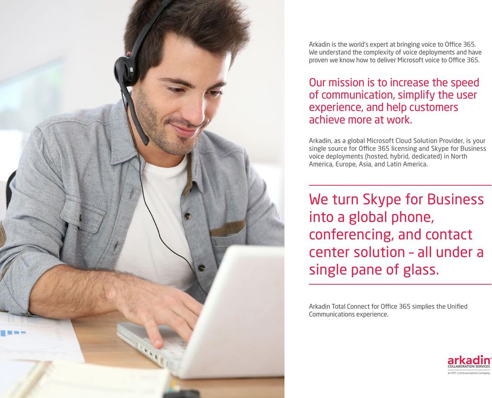 Arkadin, as a global Microsoft Cloud Solution Provider, is your single source for Office 365 licensing and Skype for Business voice deployments (hosted, hybrid, dedicated) in North