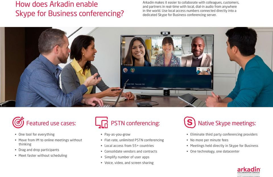 Use local access numbers connected directly into a dedicated Skype for Business conferencing server.